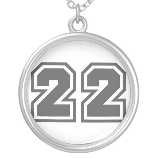 Number 22 silver plated necklace