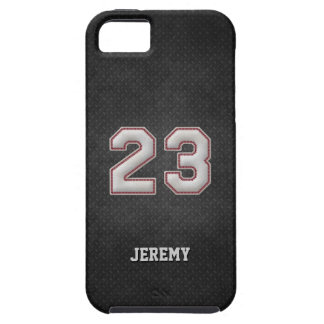 Number 23 Baseball Stitches with Black Metal Look Case For The iPhone 5
