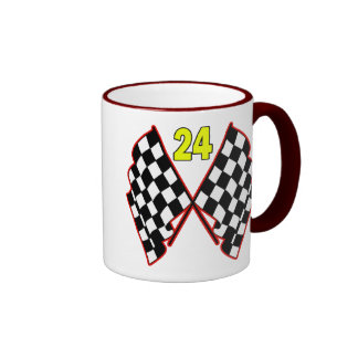 Number 24 and Checkered Flags Coffee Mug