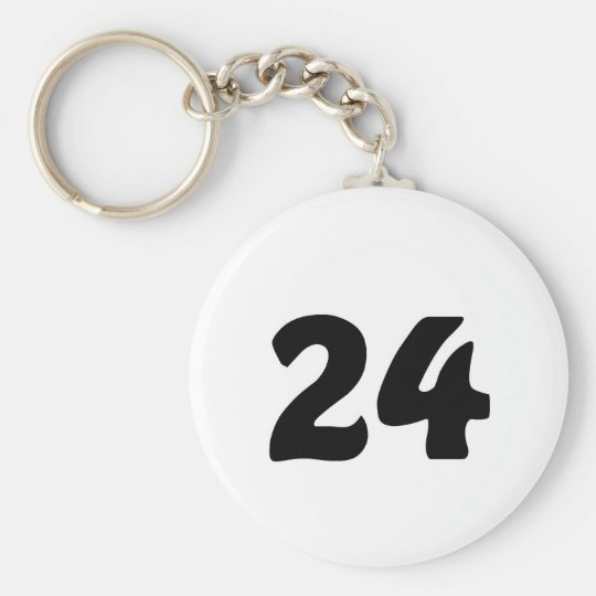 Number 24 basic round button key ring