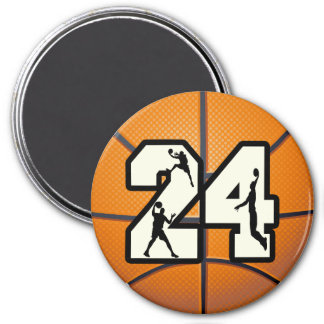 Number 24 Basketball 7.5 Cm Round Magnet