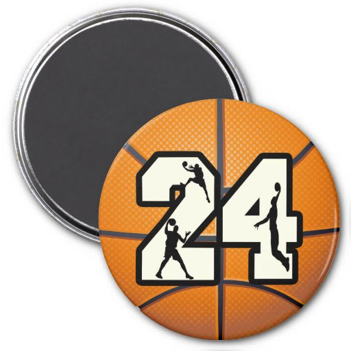 Number 24 Basketball Fridge Magnet