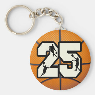 Number 25 Basketball and Players Basic Round Button Key Ring