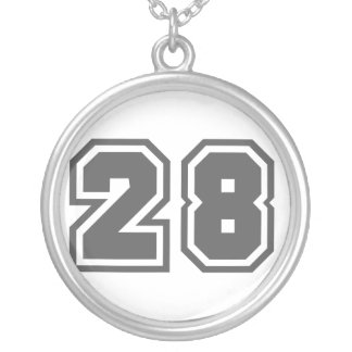 Number 28 silver plated necklace