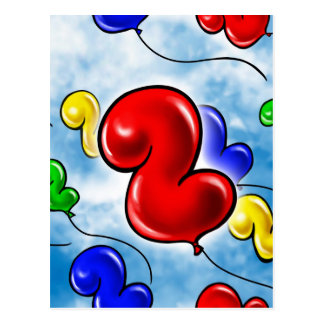 Number 2 Birthday Balloon.jpg Postcard