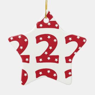 Number 2 - White Stars on Dark Red Christmas Ornament