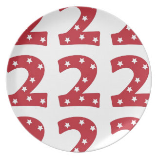 Number 2 - White Stars on Dark Red Party Plate