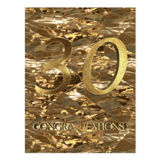 Number 30 30th Anniversary Gold Typography Postcard