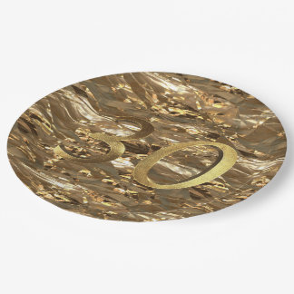 Number 30 30th Birthday Wedding Anniversary Gold Paper Plate