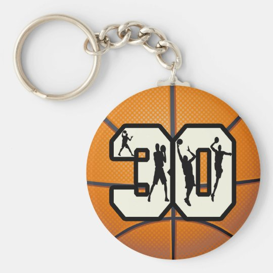 Number 30 Basketball Basic Round Button Key Ring