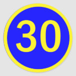 number 30 in a circle round sticker