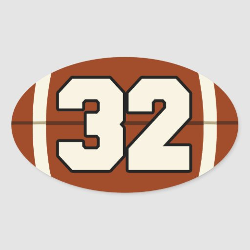 Number 32 Football Sticker