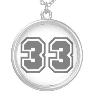 Number 33 silver plated necklace