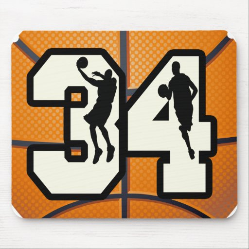 Number 34 Basketball Mouse Pad | Zazzle