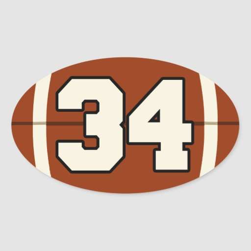 Number 34 Football Sticker | Zazzle