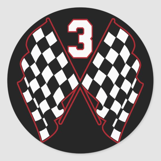NUMBER 3 AND CHECKERED FLAGS CLASSIC ROUND STICKER