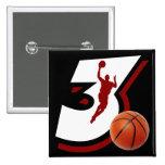 Number 3 Basketball Design Buttons
