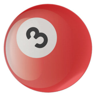 Number 3 Billiards Ball Dinner Plates