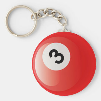 NUMBER 3 BILLIARDS BALL BASIC ROUND BUTTON KEY RING