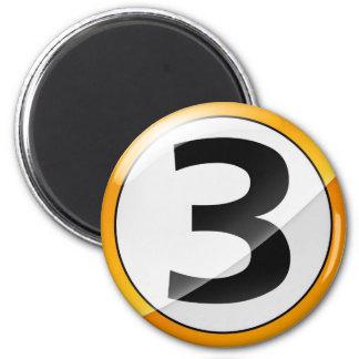 number 3 gold magnet