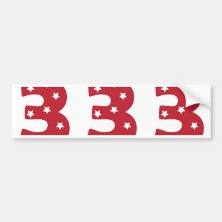Number 3 - White Stars on Dark Red Bumper Sticker