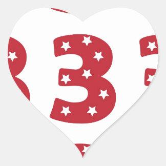 Number 3 - White Stars on Dark Red Heart Sticker