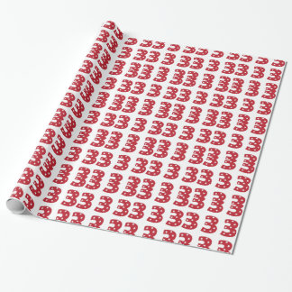 Number 3 - White Stars on Dark Red Wrapping Paper