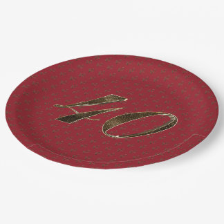 Number 40 40th Anniversary Ruby Gold Typography 9 Inch Paper Plate