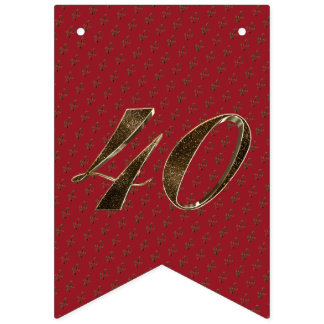 Number 40 40th Anniversary Ruby Gold Typography Bunting
