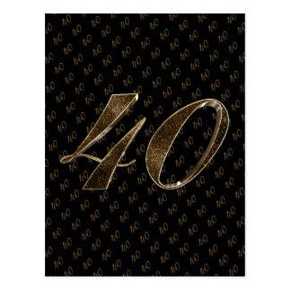 Number 40 Black Gold 40th Birthday Anniversary Postcard
