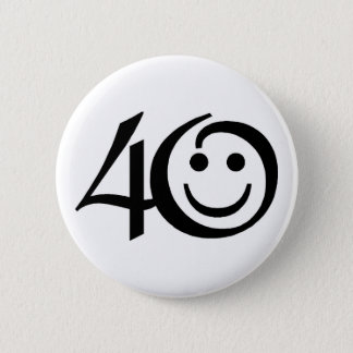 Number 40-With Happy Face 6 Cm Round Badge