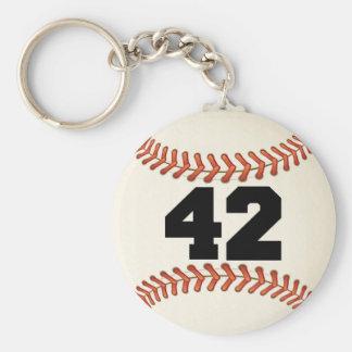 Number 42 Baseball Basic Round Button Key Ring