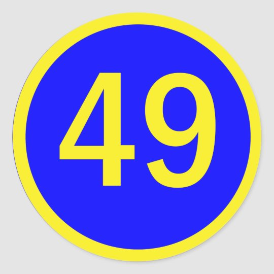 number 49  in a circle classic round sticker
