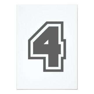 Number 4 13 cm x 18 cm invitation card