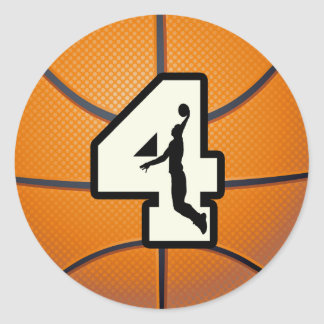 Number 4 Basketball and Player Classic Round Sticker