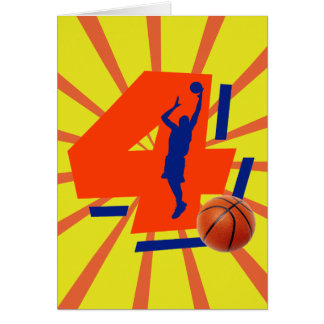Number 4 Basketball Player Greeting Card