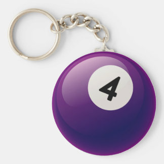 NUMBER 4 BILLIARDS BALL BASIC ROUND BUTTON KEY RING