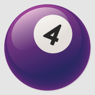 NUMBER 4 BILLIARDS BALL CLASSIC ROUND STICKER
