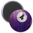 NUMBER 4 BILLIARDS BALL - ERODED AND AGED STYLE MAGNET