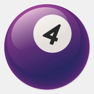 NUMBER 4 BILLIARDS BALL ROUND STICKER