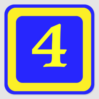 number 4, blue background, yellow frame square sticker