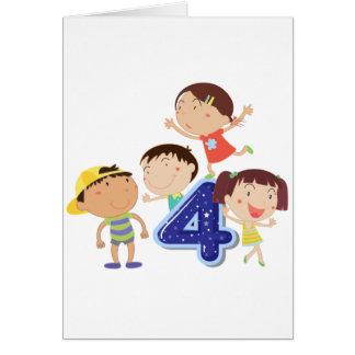 Number 4 greeting card