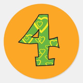 Number 4 classic round sticker