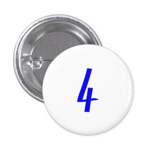 Number 4 four blue color 3 cm round badge