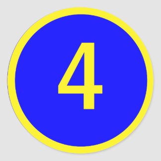 number 4 in a circle stickers