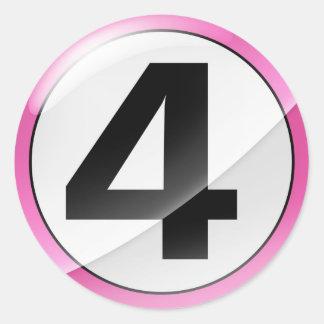 Number 4 pink sticker