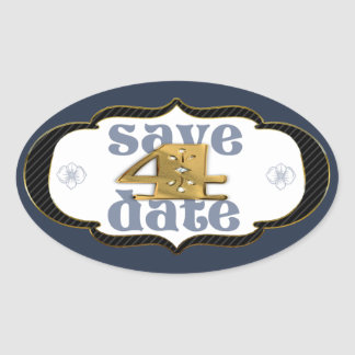 Number 4 Save the Date Blue Sticker
