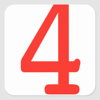 Number 4 square sticker
