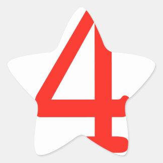 Number 4 star sticker
