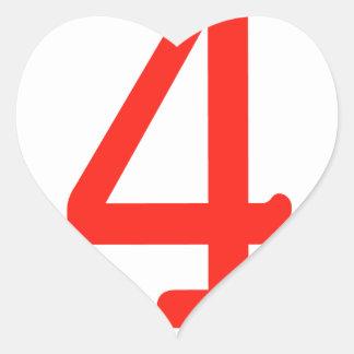 Number 4 heart sticker